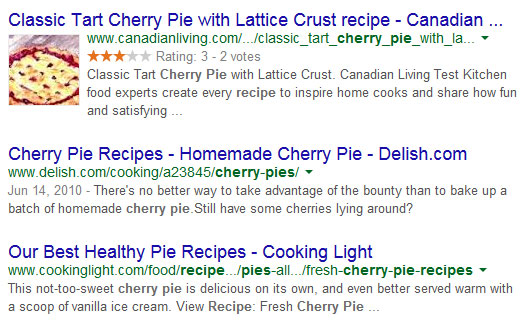 Image of a rich snippets search result listing.