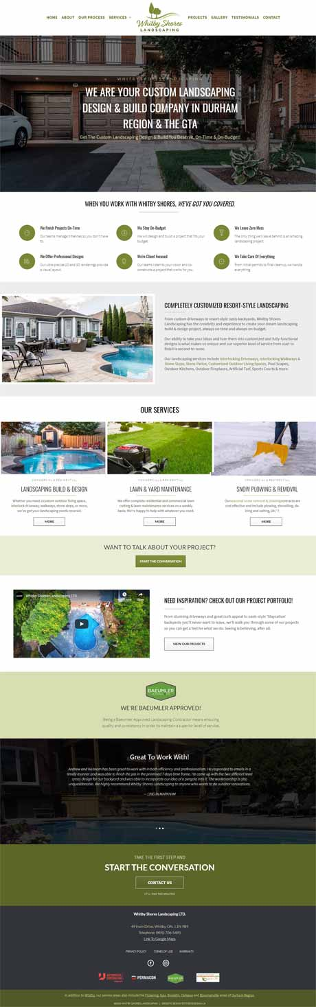 Whitby Shores Landscaping Project Website Screenshot